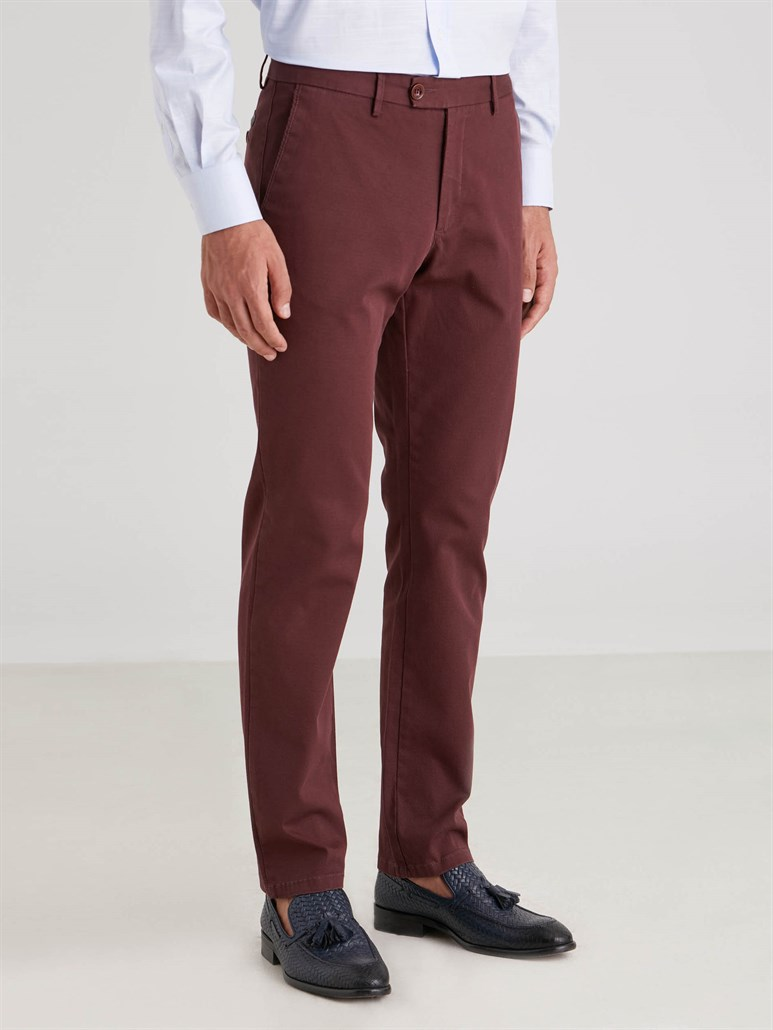 BORDO DÜZ ERKEK PANTOLON - REGULAR FIT