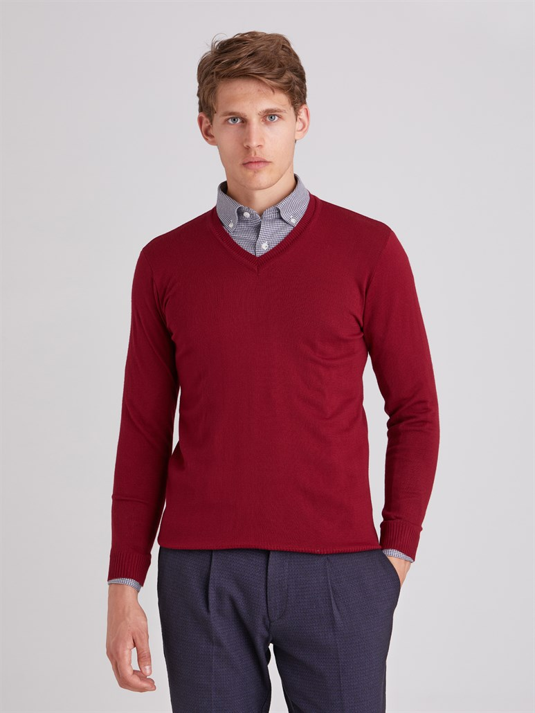 BORDO V YAKA ERKEK TRİKO - SLIM FIT