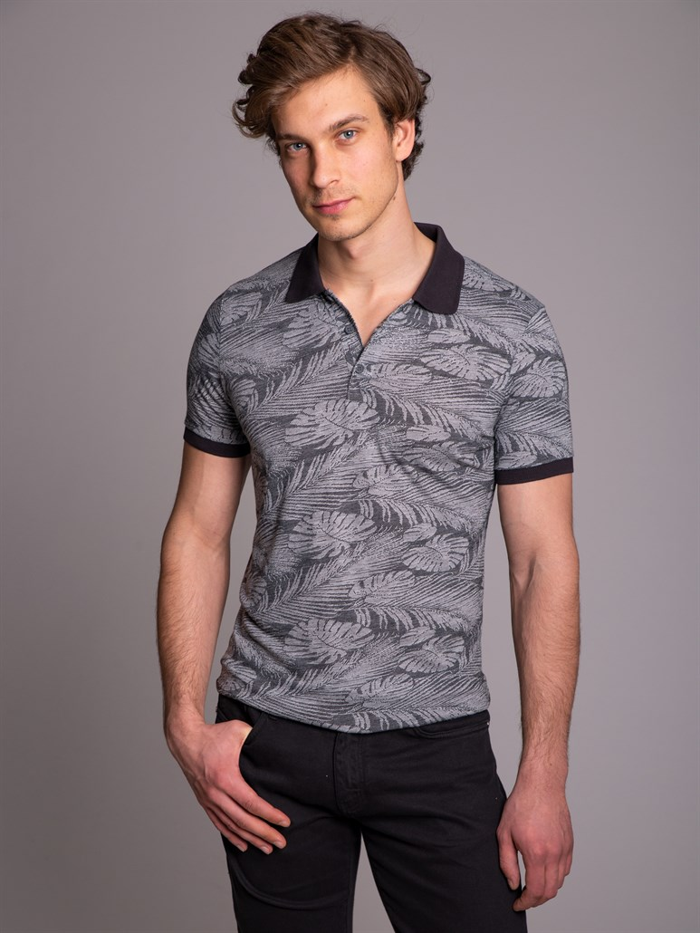 GRİ JAKAR POLO YAKA ERKEK T-SHIRT - REGULAR FIT