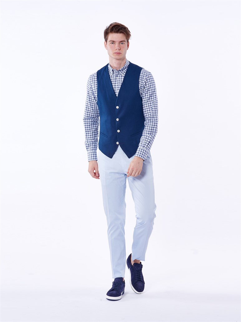LACİVERT PAMUKLU OXFORD LİKRALI ERKEK YELEK - REGULAR FIT