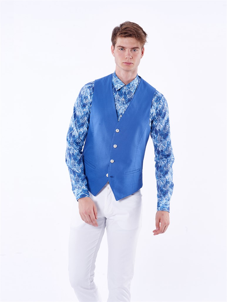SAKS PAMUKLU OXFORD LİKRALI ERKEK YELEK - REGULAR FIT
